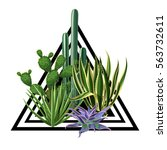 print with cactuses and... | Shutterstock .eps vector #563732611