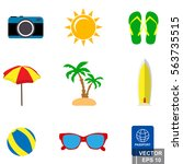 set of summer icons. vacation.... | Shutterstock .eps vector #563735515