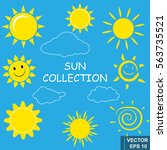 collection of the sun. set.... | Shutterstock .eps vector #563735521