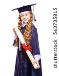 Small photo of Portrait of a cute nine year old girl in an academic gown and hat holding a diploma. Educational concept. Isolated over white.