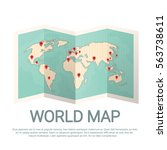 world map earth with pins... | Shutterstock .eps vector #563738611
