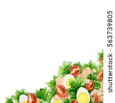 white background with eggs ... | Shutterstock . vector #563739805