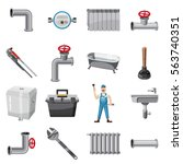 plumber items icons set....