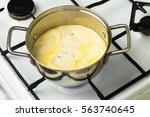 frozen mushroom soup thawed in... | Shutterstock . vector #563740645