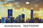 smart city with smart services... | Shutterstock . vector #563742049