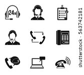 phone support woman icons set.... | Shutterstock .eps vector #563742181