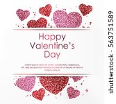 poster with hearts from pink... | Shutterstock .eps vector #563751589