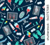 surgery seamless pattern of... | Shutterstock .eps vector #563757085