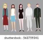 five standing women set with... | Shutterstock .eps vector #563759341