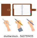 closed and opened organizers ... | Shutterstock .eps vector #563759455