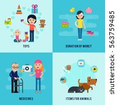 charity flat concept with... | Shutterstock .eps vector #563759485