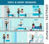 airport flat infographic... | Shutterstock .eps vector #563759605