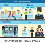 people in bank flat infographic ... | Shutterstock .eps vector #563759611