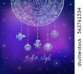 decorative mystical semicircle  ...   Shutterstock .eps vector #563761534
