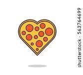 vector illustration of a pizza... | Shutterstock .eps vector #563764699