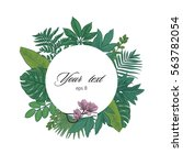 exotic leaves round color frame   Shutterstock .eps vector #563782054