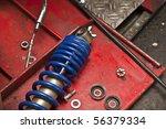 motorbike suspension - stock photo