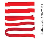 set vector red ribbons banners... | Shutterstock .eps vector #563796151