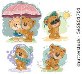 Stock vector set of vector clip art illustrations of teddy bear and different seasons 563801701
