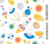 seamless space pattern with... | Shutterstock .eps vector #563803285