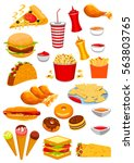 fast food vector icons of... | Shutterstock .eps vector #563803765
