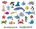 Sea And Ocean Animals. Vector...