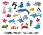 Sea And Ocean Animals. Vector...