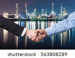 bussiness concept hand shake on ... | Shutterstock . vector #563808289