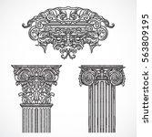 vintage architectural details... | Shutterstock .eps vector #563809195