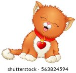 Stock vector vector illustration of cute cartoon kitten wearing a red collar with heart shaped tag 563824594