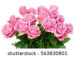 Stock photo violet blooming fresh roses bunch close up isolated on white background 563830801
