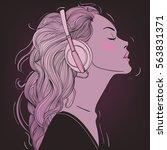 beautiful girl with headphones  | Shutterstock .eps vector #563831371