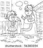 granny and granddaughter | Shutterstock . vector #56383354