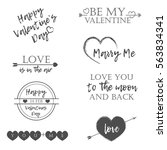 valentine's day set of symbols... | Shutterstock .eps vector #563834341
