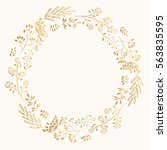Stock vector golden cute round frame vector wreath with herbs and leaves 563835595