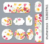floral spring templates with... | Shutterstock .eps vector #563835961