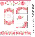 floral spring templates with... | Shutterstock .eps vector #563835985