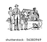 happy family   retro clip art | Shutterstock .eps vector #56383969