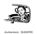 Female Motorist   Retro Clip Art