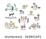 set of hand drawn dairy... | Shutterstock .eps vector #563841691