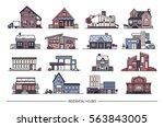 line art residential house... | Shutterstock .eps vector #563843005