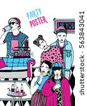 alternative party poster.... | Shutterstock .eps vector #563843041
