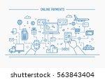 line art flat contour vector... | Shutterstock .eps vector #563843404