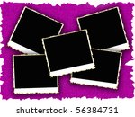 blank photo frames on old... | Shutterstock . vector #56384731