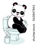 funny cartoon panda sitting on... | Shutterstock .eps vector #563847841
