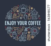 coffee making poster template.... | Shutterstock .eps vector #563848177