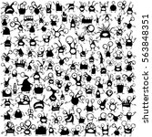 big set of cute black monsters...   Shutterstock .eps vector #563848351