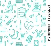 seamless pattern medical icons  ... | Shutterstock .eps vector #563852395