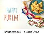 purim celebration concept ... | Shutterstock . vector #563852965