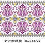 seamless wide border with pink... | Shutterstock .eps vector #563853721